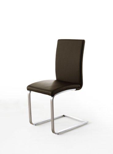 2 Stühle, Esszimmerstühle, Schwingstuhl, Freischwinger, echt Leder braun