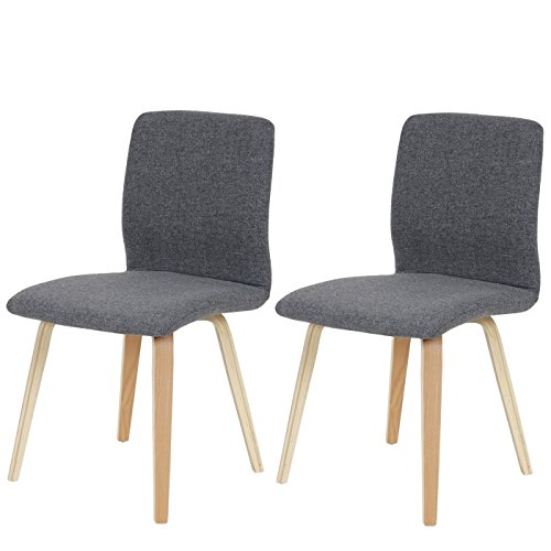 2x Esszimmerstuhl Bendorf, Stuhl Lehnstuhl, Retro, helle Beine ~ Textil, grau