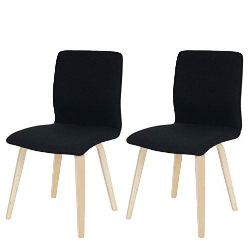 2x Esszimmerstuhl Bendorf, Stuhl Lehnstuhl, Retro, helle Beine ~ Textil, schwarz