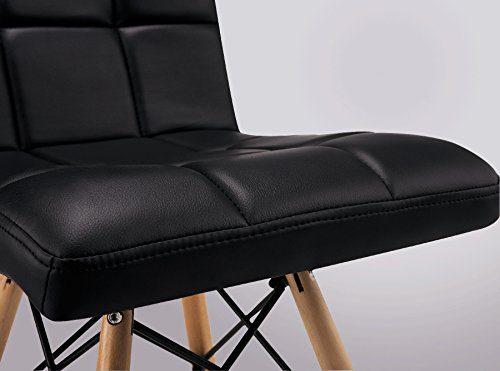 4er set esszimmerstuhl inspiration leder pu schwarz buche lederstuhl retro chair. Black Bedroom Furniture Sets. Home Design Ideas