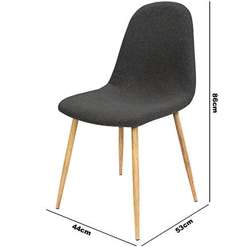 4x design stuhl mit stoffbezug dunkelgrau esszimmerst hle st hle designerstuhl. Black Bedroom Furniture Sets. Home Design Ideas
