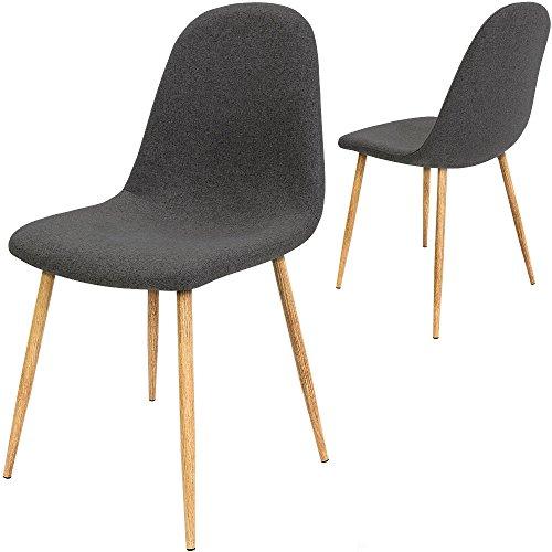 4x Design Stuhl mit Stoffbezug dunkelgrau - Esszimmerstühle Stühle Designerstuhl