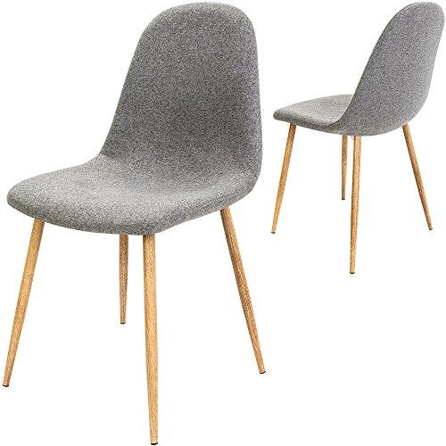 4x Design Stuhl mit Stoffbezug hellgrau - Esszimmerstühle Stühle Designerstuhl