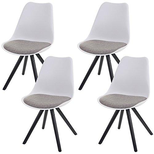 4x Esszimmerstuhl Malmö T501, Retro Design ~ weiß, Sitzfläche Textil grau, dunkle Beine