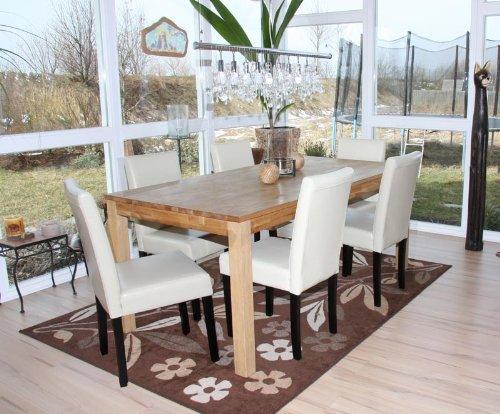 4x esszimmerstuhl stuhl lehnstuhl littau leder creme dunkle beine esszimmerst. Black Bedroom Furniture Sets. Home Design Ideas