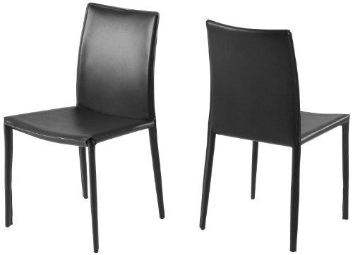 AC Design Furniture 0000054928 Esszimmerstuhl, 2-er Set EMMA, 100% regeneriertes Leder, schwarz