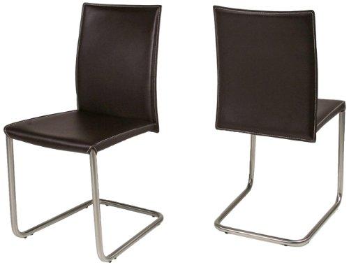 AC Design Furniture 45762 Schwingstuhl 2-er Set Emma, 100% regeneriertes Leder braun, Kontrastnähte creme