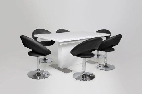 AC Design Furniture 48696 Esszimmerstuhl 2-er Set Thilde, drehbar, Kunstleder schwarz