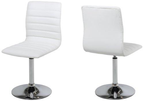 AC Design Furniture 48945 Esszimmerstuhl 2-er Set Sander, Bezug Kunstleder weiß , Gestell Metall verchromt, 360 Grad drehbar