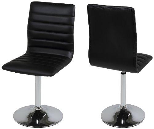 AC Design Furniture 48946 Esszimmerstuhl 2-er Set Sander, Bezug Kunstleder schwarz , Gestell Metall verchromt, 360 Grad drehbar