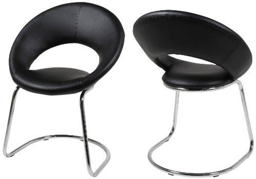 AC Design Furniture 48947 Schwingstuhl 2-er Set Thilde, Kunstleder schwarz