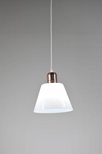 ALHAKIN Modern Vintage Industrie weiße Glasschirm Loft Coffee Bar-Küche Hängende hängende Lampen-Licht (Rot-Gold-Befestigung)