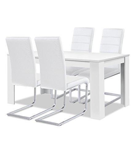 Agionda® Esstisch + Stuhlset : 1 x Esstisch Toledo 120 Weiss + 4 Freischwinger Kunstleder weiss