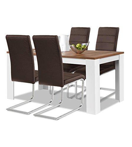 Agionda® Esstisch + Stuhlset : 1 x Esstisch Toledo 140 Nussbaum / Weiss + 4 Freischwinger Kunstleder PU braun