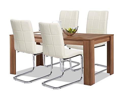 Agionda® Esstisch + Stuhlset : 1 x Esstisch Toledo Nussbaum + 4 Freischwinger PAUL creme mit CHROMGESTELL und 120 kg Belastbarkeit !