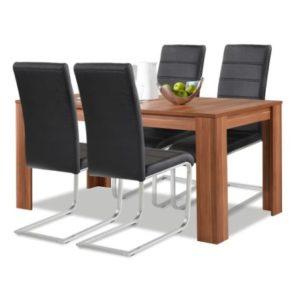 Agionda® Esstisch + Stuhlset : 1 x Esstisch Toledo Nussbaum + 4 Freischwinger schwarz