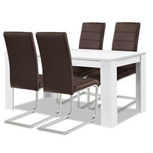 Agionda® Esstisch + Stuhlset : 1 x Esstisch Toledo Weiss + 4 Freischwinger braun Kunstleder