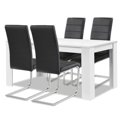 Agionda® Esstisch + Stuhlset : 1 x Esstisch Toledo Weiss + 4 Freischwinger schwarz