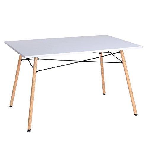 Aingoo Retro Weiß Eiffel Tisch Eames Tisch Esstisch Esszimmertisch Küchentisch Wohnzimmertisch Esszimmer Holz Tischplatte MDF lackiert