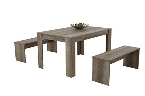 Apollo 022511 Essgruppe Petra, Rechteckiger Tisch und 2 Bänke, Dekor Wildeiche