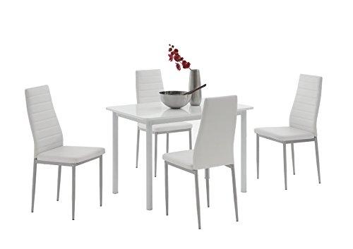Apollo 810600 Essgruppe Anke, Rechteckiger Tisch und 4-er Pack Stühle, Dekor weiß hochglanz weiß