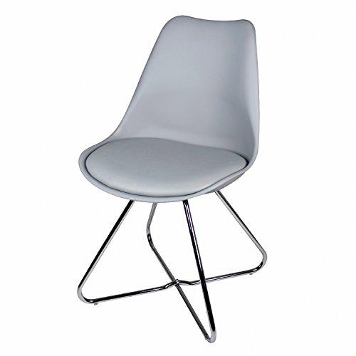 BUTIK Angebot 4er Set Moderner Esszimmerstuhl Consilium Tove - Maße 83x48x39 cm - Sitzkissen aus hochwertigem Kunstleder - Untergestell aus verchromtem Stahl (Grau)
