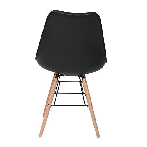 BUTIK Moderner Esszimmerstuhl Consilium Beech (2er Set) - Maße 83x48x39 cm - Sitzkissen aus hochwertigem Kunstleder (Schwarz)