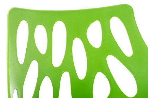 CLP Design Retro Stuhl HAILEY, Materialmix Kunststoff / Buchenholz, Sitzhöhe 44 cm, FARBWAHL grün
