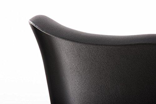 CLP Design Retro Stuhl PEGLEG SQUARE mit Holzgestell walnuss, Materialmix aus Kunststoff, Kunstleder und Holz, FARBWAHL schwarz