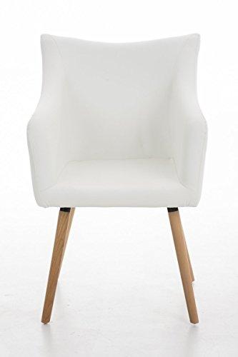 CLP Design-Stuhl MCCOY mit gut gepolsterter Sitzfläche aus Kunstleder und Holzgestell - aus bis zu 5 Farben wählen weiß