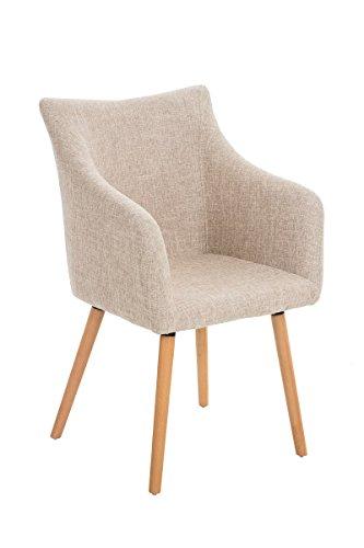 CLP Design-Stuhl MCCOY mit gut gepolsterter Sitzfläche aus Stoff und Holzgestell - aus bis zu 7 Farben wählen creme