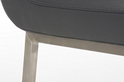 clp edelstahl esszimmer stuhl colmar mit kunstledersitz modernes schlichtes design sitzhhe 47 cm. Black Bedroom Furniture Sets. Home Design Ideas