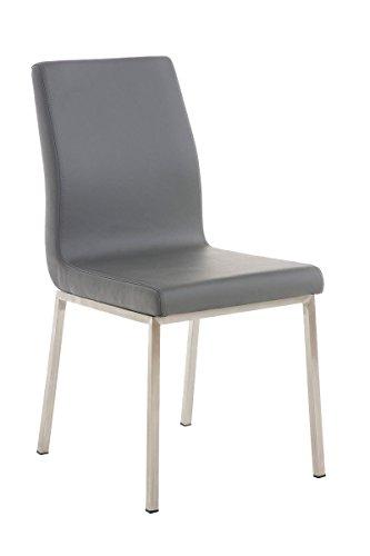 CLP Edelstahl Esszimmer-Stuhl COLMAR mit Kunstledersitz, modernes & schlichtes Design, Sitzhöhe 47 cm, bis zu 11 Farben wählbar grau