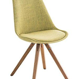 CLP Retro Stuhl PEGLEG SQUARE mit Holzgestell natura und Stoffsitz, Besucherstuhl im stilvollen Design, FARBWAHL grün