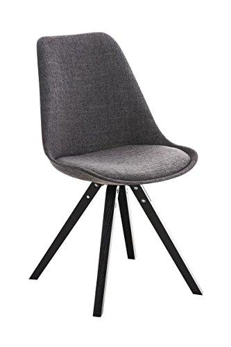 CLP Retro Stuhl PEGLEG SQUARE mit Holzgestell schwarz und Stoffsitz, Besucherstuhl im stilvollen Design, FARBWAHL hellgrau