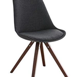 CLP Retro Stuhl PEGLEG SQUARE mit Holzgestell walnuss und Stoffsitz, Besucherstuhl im stilvollen Design, FARBWAHL dunkelgrau