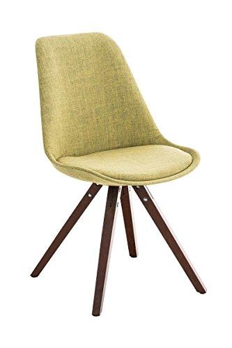 CLP Retro Stuhl PEGLEG SQUARE mit Holzgestell walnuss und Stoffsitz, Besucherstuhl im stilvollen Design, FARBWAHL grün