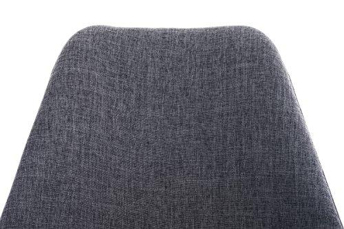 CLP Retro Stuhl PEGLEG SQUARE mit Holzgestell weiß und Stoffsitz, Besucherstuhl im stilvollen Design, FARBWAHL hellgrau