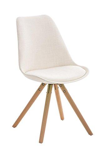 CLP Retro Stuhl PEGLEG mit Holzgestell natura und Stoffsitz, Besucherstuhl im stilvollen Design, FARBWAHL creme