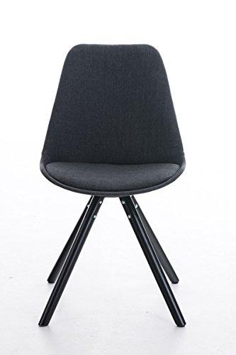 CLP Retro Stuhl PEGLEG mit Holzgestell schwarz und Stoffsitz, Besucherstuhl im stilvollen Design, FARBWAHL dunkelgrau