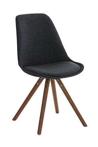 CLP Retro Stuhl PEGLEG mit Holzgestell walnuss und Stoffsitz, Besucherstuhl im stilvollen Design, FARBWAHL schwarz
