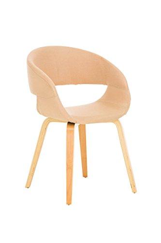 CLP moderner Besucher-Stuhl PANO mit Armlehne & gut gepolsterter Sitzfläche und Holzgestell mit Farbwahl creme