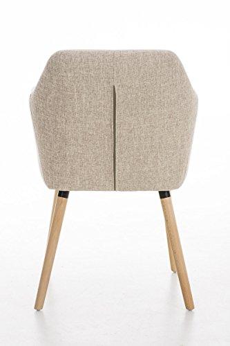 CLP moderner Besucherstuhl PICARD mit Holzgestell und gut gepolsterter Sitzfläche aus Stoff - FARBWAHL creme