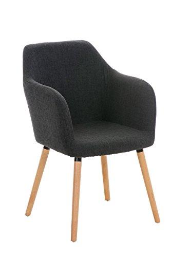 CLP moderner Besucherstuhl PICARD mit Holzgestell und gut gepolsterter Sitzfläche aus Stoff - FARBWAHL dunkelgrau