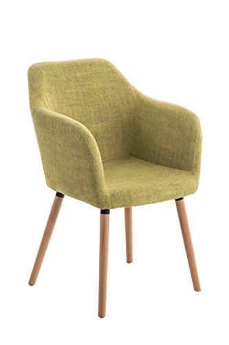 CLP moderner Besucherstuhl PICARD mit Holzgestell und gut gepolsterter Sitzfläche aus Stoff - FARBWAHL grün