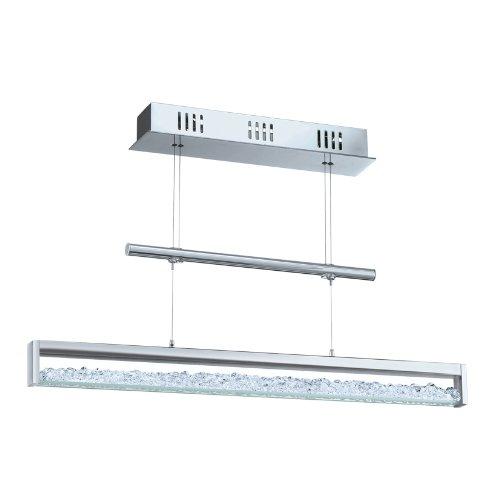 Eglo LED Hängeleuchte Modell Cardito / aus Alu und Stahl in chrom / Glas Kristall / 1 x 24.96WE (156LED) 510 lm inklusiv Leuchtmittel / 70 x 110 cm / höhenverstellbar 90928