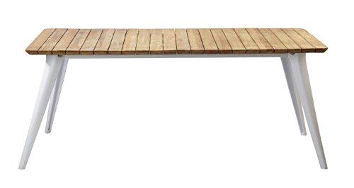 Esstisch FIBERA Platte aus Teak Gestell weiß Aluminium 200 x 100 cm