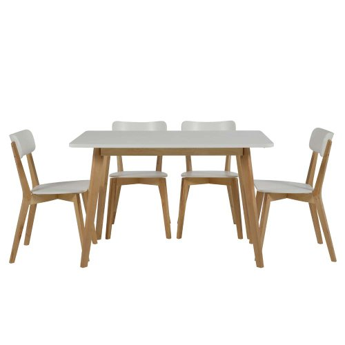 Esstisch / Küchentisch TAVOLA, Massivholz Birke, Tischplatte weiß, 80x120cm
