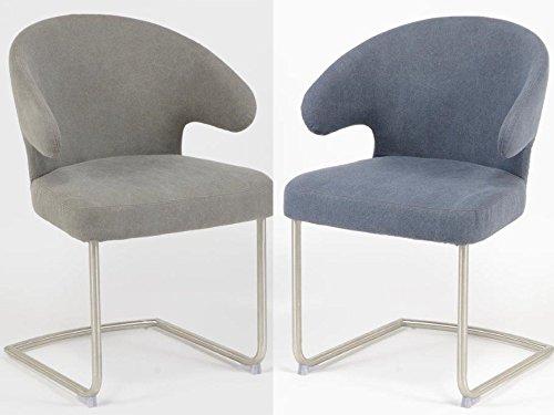 esstischsessel 2 stk armlehnsessel edelstahl polster jeans grau esszimmerst. Black Bedroom Furniture Sets. Home Design Ideas