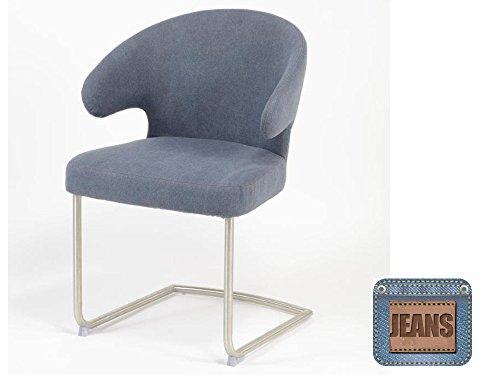 Esstischsessel Armlehnstühle 2 Stk. Edelstahl Polster Bezug Jeans Blau